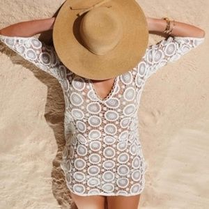 Mud Pie Cream/gold Crochet Cover-up